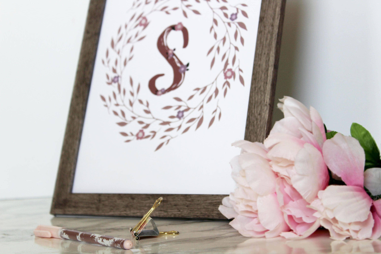 Letter J Wall Art Monogram Letter J Printable Floral Monogram Letter J Printable