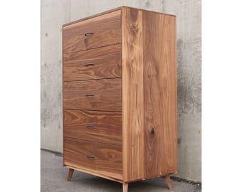 Walnut 5 Drawer Mid-Century Dresser