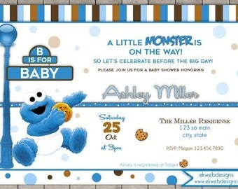 Cookie Monster Baby Shower Invitation - A little Monster Invite - Sesame Street baby shower invitation