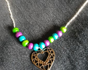 Wood bead and copper heart necklace