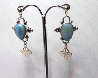 Larimar and 925 Sterling Silver earrings