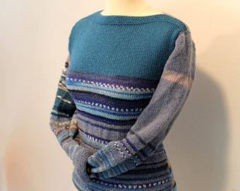 """Reversible """"Camille"""" gray, blue and heathered wool, Kallline hand knit sweater"""