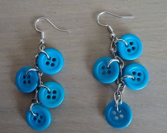 Buttons earrings turquoise blue