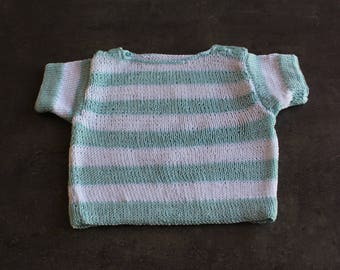 Blue, white short sleeved sweater 3 months
