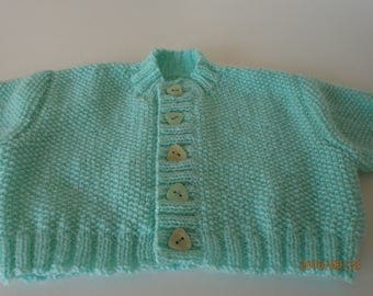 Mint green Cardigan premature in MOSS stitch