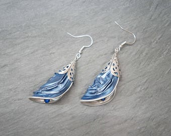 Coffee capsule - iridescent blue petals earrings
