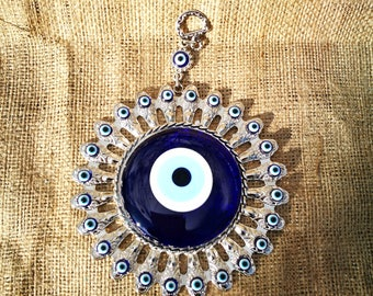 Turkish  evil  eye wall hanging-Blue evil eye wall decor-evil eye home decor-Evil eye amulet,kabbalah-Evil eye good luck-glass evil eye-