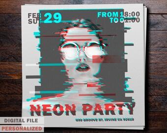 Neon Party Invitation,  Neon Party Birthday Invitation, Neon Party Final Invitation
