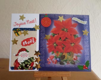 greeting card with flowers on blue tracing paper