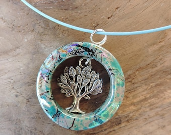 Necklace and pendant, Choker the pale blue steel tree of life Tibetan Silver Pendant with silver and Pearl