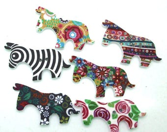 set of 10 wooden horse buttons