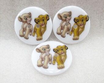 Set of 5 resin Disney buttons