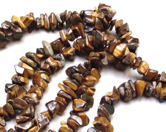 50 beads 6/10 mm Tiger eye stone chips.
