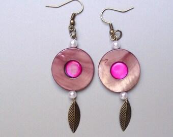 Dangle earrings glass and lava stone. .