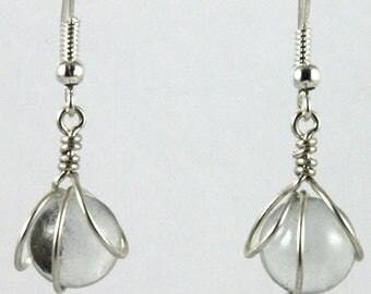 Boucles d'oreilles 3 cercles bille verre translucide