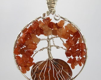 Tree of life pendant carnelian and aventurine.