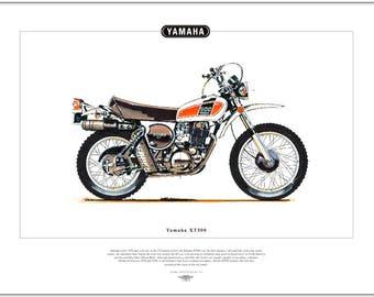 YAMAHA XT500 - Motorcycle Fine Art Print - Japanese off-road motorbike dirt bike