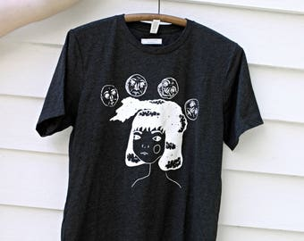Unique Girl With Moons Screen Printed Shirt