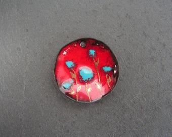 enamelled copper (hot) charm pendant red, blue, gold