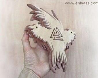 Viking HUGIN & MUNIN inspiration in both solid wood wall sculpture