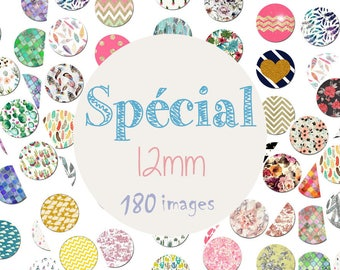 "Board of 180 cabochons images / digital ""Special 12mm, feathers, cactus, greed, Moroccan, flowers, gold, rain drops"""