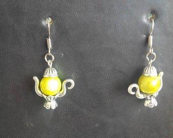 yellow metal teapot earrings