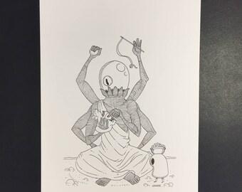 Chaton, Illustration originale à l'encre noire