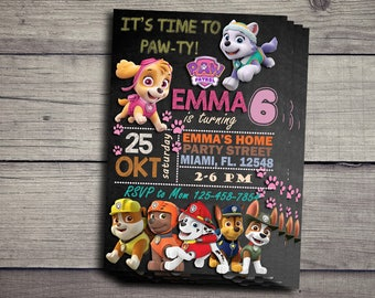 Paw Patrol Birthday Invitation, Paw Patrol Birthday Party, Paw Patrol Invitation, Paw Patrol Invite Printable File, Paw Patrol Party