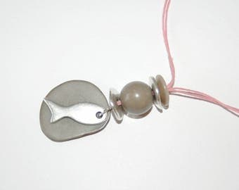 "Necklace ""like a fish in water"" - gray and pink"