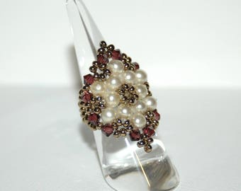 Swarovski Baroque crystals and pearls ring