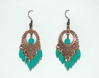Sheherazade earrings with blue/turquoise pendants