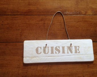 "Door plaque ""cuisine"" weathered wood"