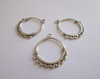 3 connecteur cercle en métal argenté 34 x 31 mm