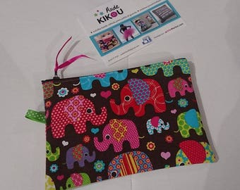 Funky elephants zippered Brown background