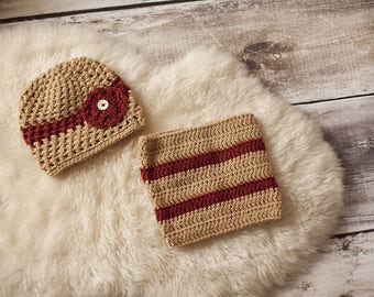 Cap wool & snood, knitted girl 5-6 years