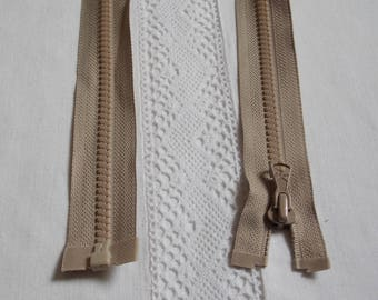 Molded separable 45 cm beige light brown zipper