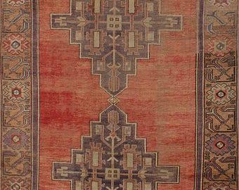"""Vintage Turkish Rug, Vintage Anatolian Turkish Rug, Turkish Vintage Rug, Copper Wool Rug, Vintage Geometric 1960's Rug, 4'5"""" x 11'0"""""""