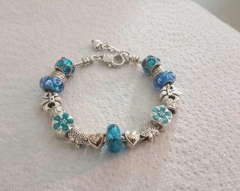 Bracelet Lampwork Sunset Breeze/style Pandora/blue/silver/crystal/glass/enamel/flowers/heart/Butterfly/charm European/love/mesh snake