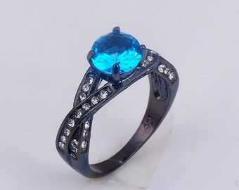 woman ring TANZANYA/acirer black/swarovski crystal blue/finger/rhinestones/charm/chic/gift/seed/stone/round/woman/girl/jewelry/Black /.