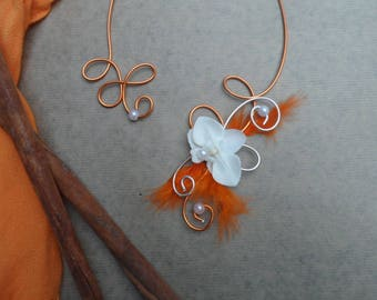 Floral necklace with a white Orchid - orange silver and orange feather