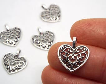 Filigree Heart Charm 18 x 15mm, Silver Coloured