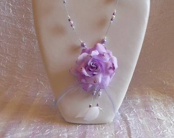 Flower necklace and Pearl wedding beads
