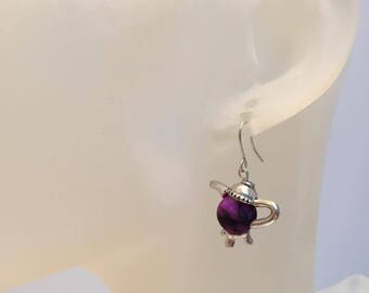 Purple Pearl and teapot earrings