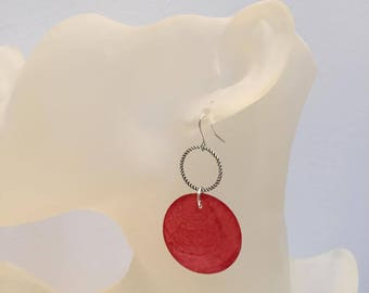 Red mother of Pearl coin earrings
