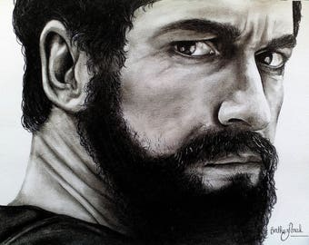 "Drawing portrait Leonidas the 300 ""Spartan"" black and white"