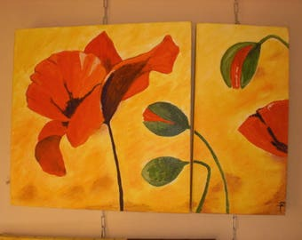 red poppies on yellow background