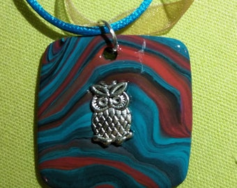 Polymer clay and OWL charm pendant necklace