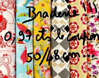 bradés! 0.97 cts chaque coupon, assortiment 6  tissus 100% coton 50/48 cm,  imprimés motifs fleurs, vintage, géométrique, perroquets