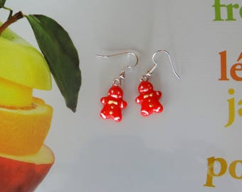 1 pair of snowmen translucent red on dangling earrings