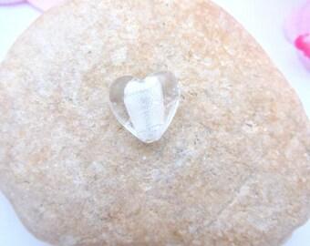 Heart-shaped white glass Pearl